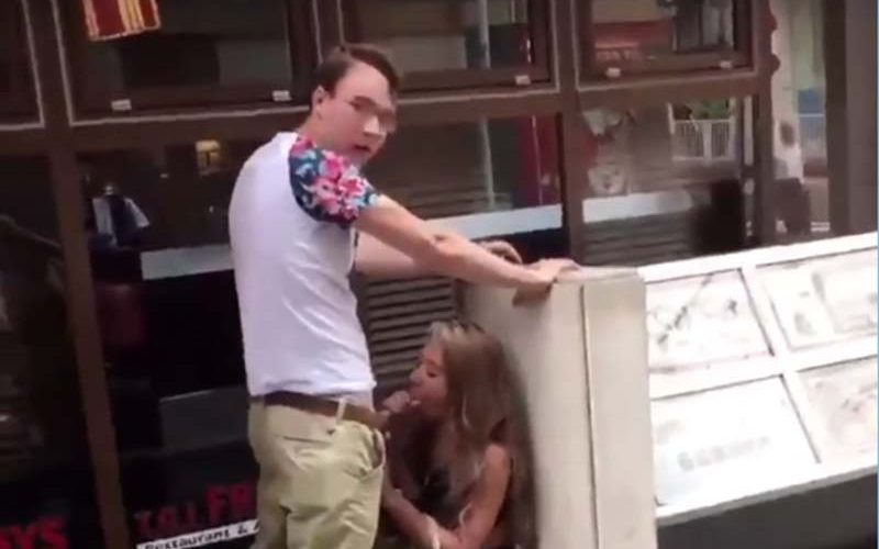 Public blowjob on the street caught on camera